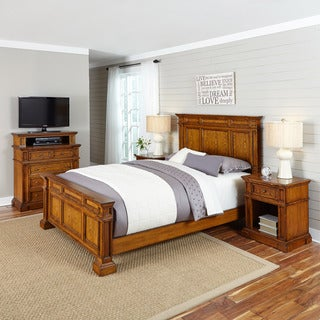 Home Styles Americana Distressed Oak Bed, Two Night Stands, and Media Chest