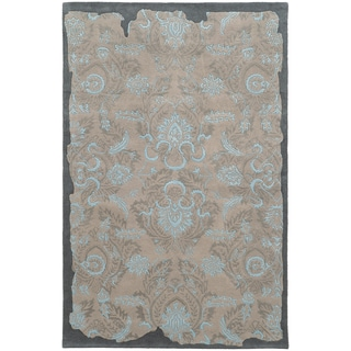 Pantone Universe Color Influence Eroded Oriental Grey/ Blue Wool Rug (3'6 x 5'6)