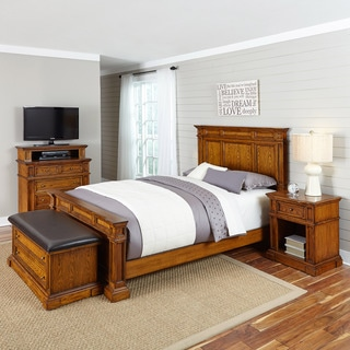 Home Styles Americana Distressed Oak Bed, Night Stand, Media Chest, and Upholstered Bench