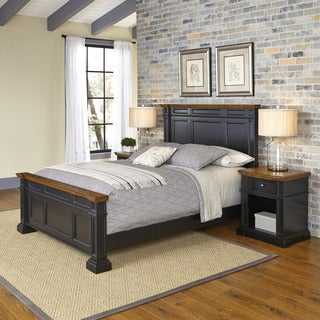 Home Styles Americana Black and Oak Bed and Two Night Stands