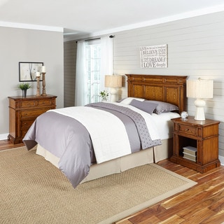 Home Styles Americana Distressed Oak Headboard, Two Night Stands, and Chest