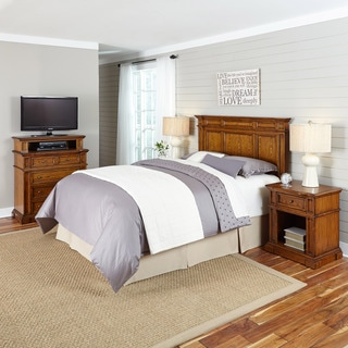 Home Styles Americana Distressed Oak Headboard, Two Night Stands, and Media Chest