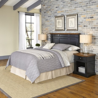 Home Styles Americana Black and Oak Headboard and Two Night Stands