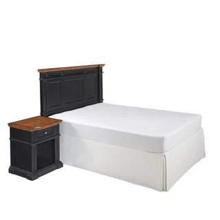 Home Styles Americana Black and Oak Headboard and Night Stand
