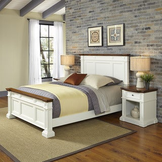 Home Styles Americana White and Oak Bed and Two Night Stands