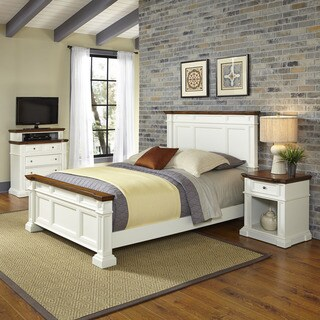 Home Styles Americana White and Oak Bed, Night Stand, and Media Chest