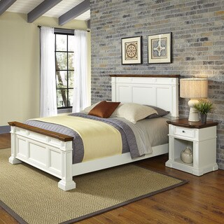 Home Styles Americana White and Oak Bed and Night Stand