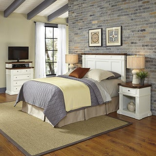 Home Styles Americana White and Oak Headboard, Two Night Stands, and Media Chest