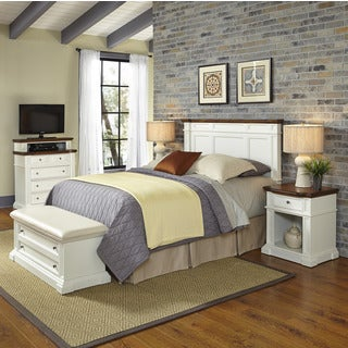 Home Styles Americana White and Oak Headboard, Two Night Stands, Media Chest, and Upholstered Bench