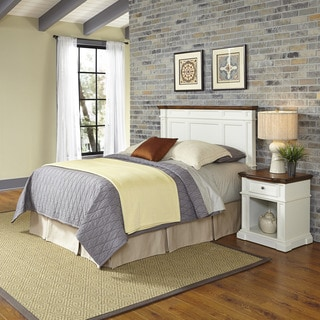 Home Styles Americana White and Oak Headboard and Night Stand