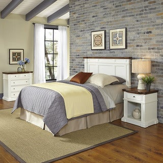 Home Styles Americana White and Oak Headboard, Night Stand, and Chest