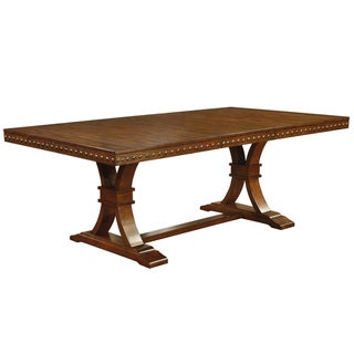 Furniture of America Yizi Industrial Oak 78-inch Pedestal Dining Table