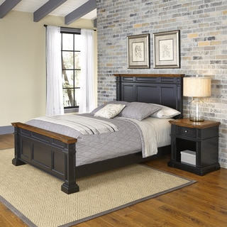 Home Styles Americana Black and Oak Bed and Night Stand