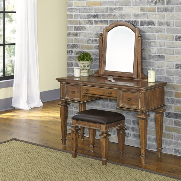 Peachy Americana Vintage Vanity And Bench By Home Styles Ibusinesslaw Wood Chair Design Ideas Ibusinesslaworg