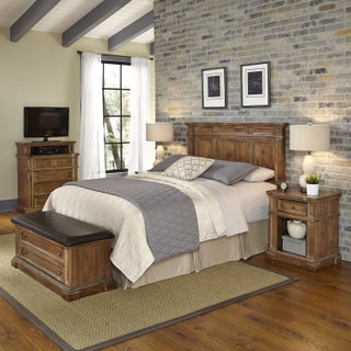 Americana Vintage Headboard, Two Night Stands, Media Chest, and Upholstered Bench by Home Styles