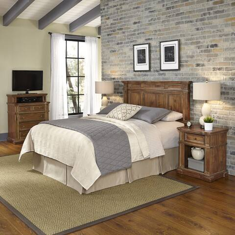 Americana Vintage Headboard, Two Night Stands, and Media Chest by Home Styles