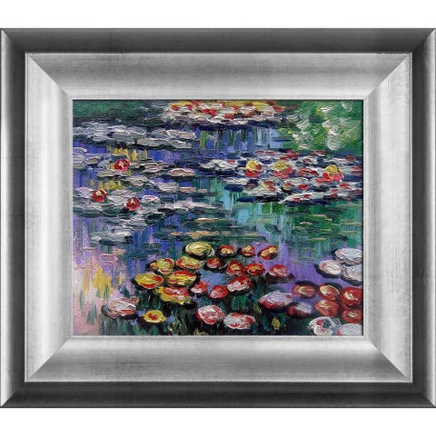 Claude Monet 'Water Lilies' (pink) Hand-painted Framed Canvas Art