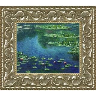Claude Monet 'Water Lilies' Hand-painted Framed Canvas Art
