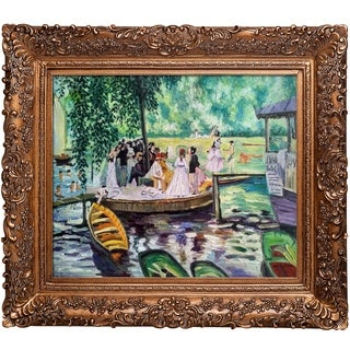 Pierre-Auguste Renoir 'La Grenouillere (The Frog Pond)' Hand-painted Framed Canvas Art