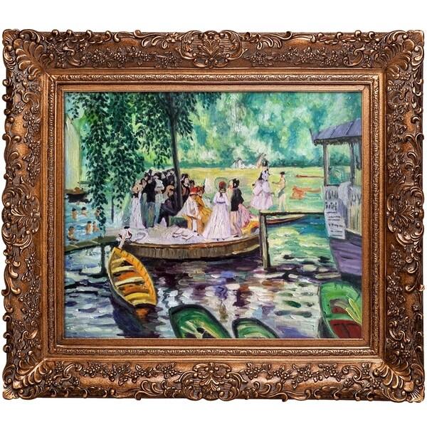 Pierre-Auguste Renoir 'La Grenouillere (The Frog Pond)' Hand-painted Framed Canvas Art