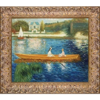 Pierre-Auguste Renoir 'Boating on the Seine' Hand-painted Framed Canvas Art