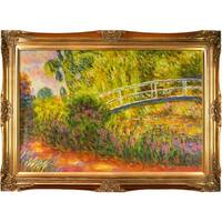 Claude Monet 'The Japanese Bridge' Hand Painted Framed Canvas Art