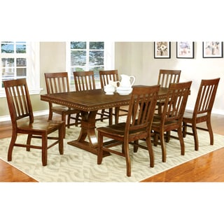 Furniture of America Yizi Industrial Oak Solid Wood 9-piece Dining Set