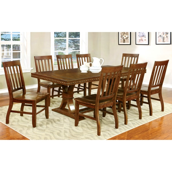Furniture Of America Ralphie 9 Piece Industrial Dark Oak Dining Set
