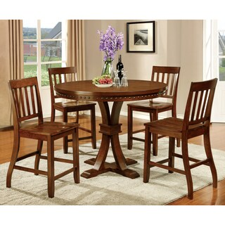 Furniture of America Ralphie 5-Piece Industrial Dark Oak Counter Height Dining Set