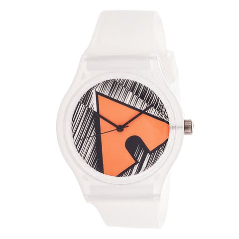 Airwalk Analog White/ Orange Logo White Silicone Strap Watch