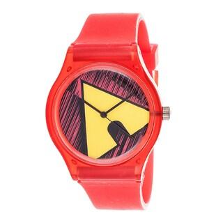 Airwalk Analog Coral Strap /Yellow Logo Watch
