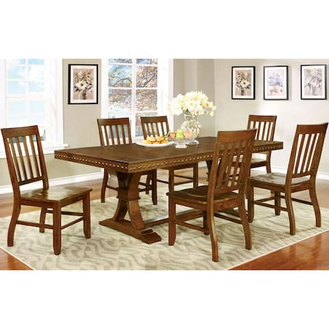 Furniture of America Yizi Industrial Oak Solid Wood 7-piece Dining Set