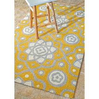 nuLOOM Handmade Modern Abstract Indoor/ Outdoor Yellow Rug (7'6 x 9'6)