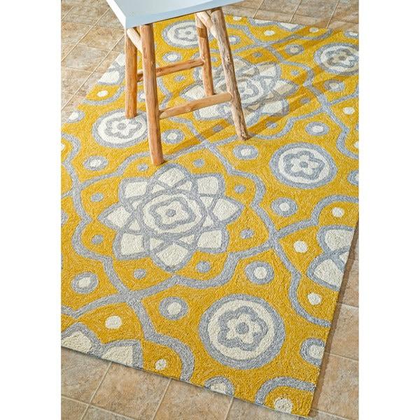 nuLOOM Handmade Modern Abstract Indoor/ Outdoor Yellow Rug (7'6 x 9'6) - 7'6 x 9'6