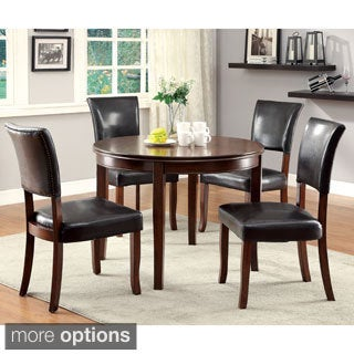 Furniture of America Hallins 5-piece Medium Oak Round Dining Set