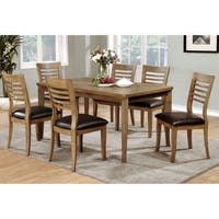 Furniture of America Hallins 7-piece Natural Oak Dining Set