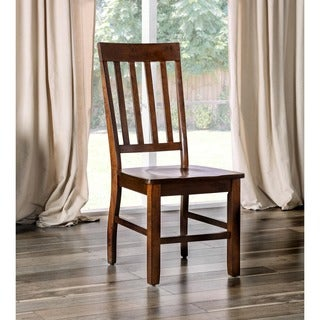 "Furniture of America Ralphie Dark Oak Dining Chair (Set of 2) - 19""W X 23""D X 40""H (Seat Ht: 17"", Seat Dp: 17 1/2"""
