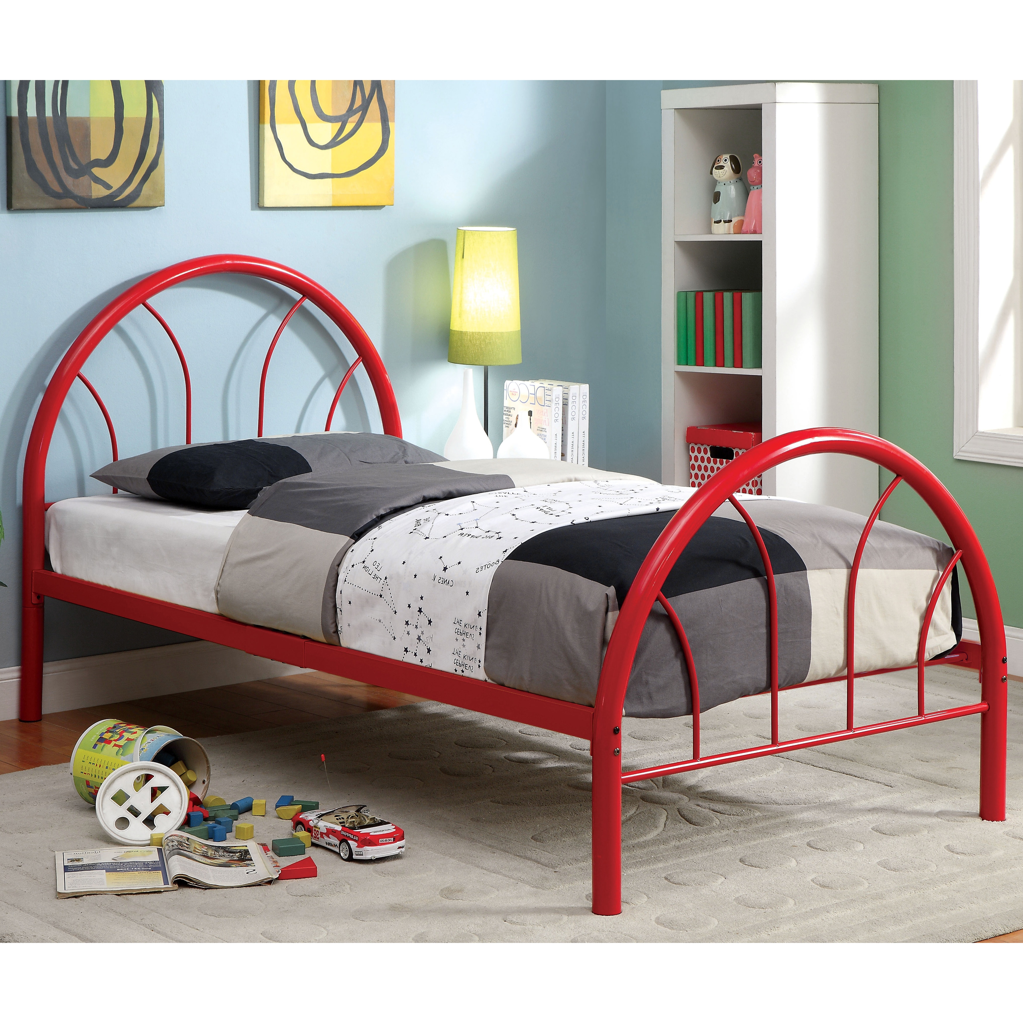 Furniture of America Linden Double Arch Metal Full Bed (Red)