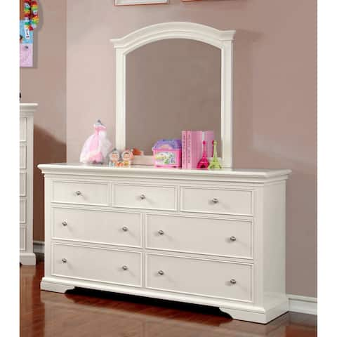 Furniture of America Vetz Modern White 2-piece Dresser and Mirror Set