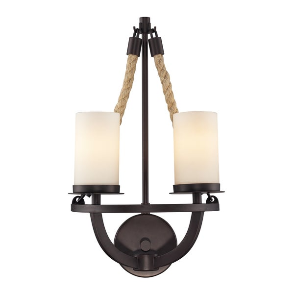 Aged Bronze Natural Rope Collection 2-Light Sconce