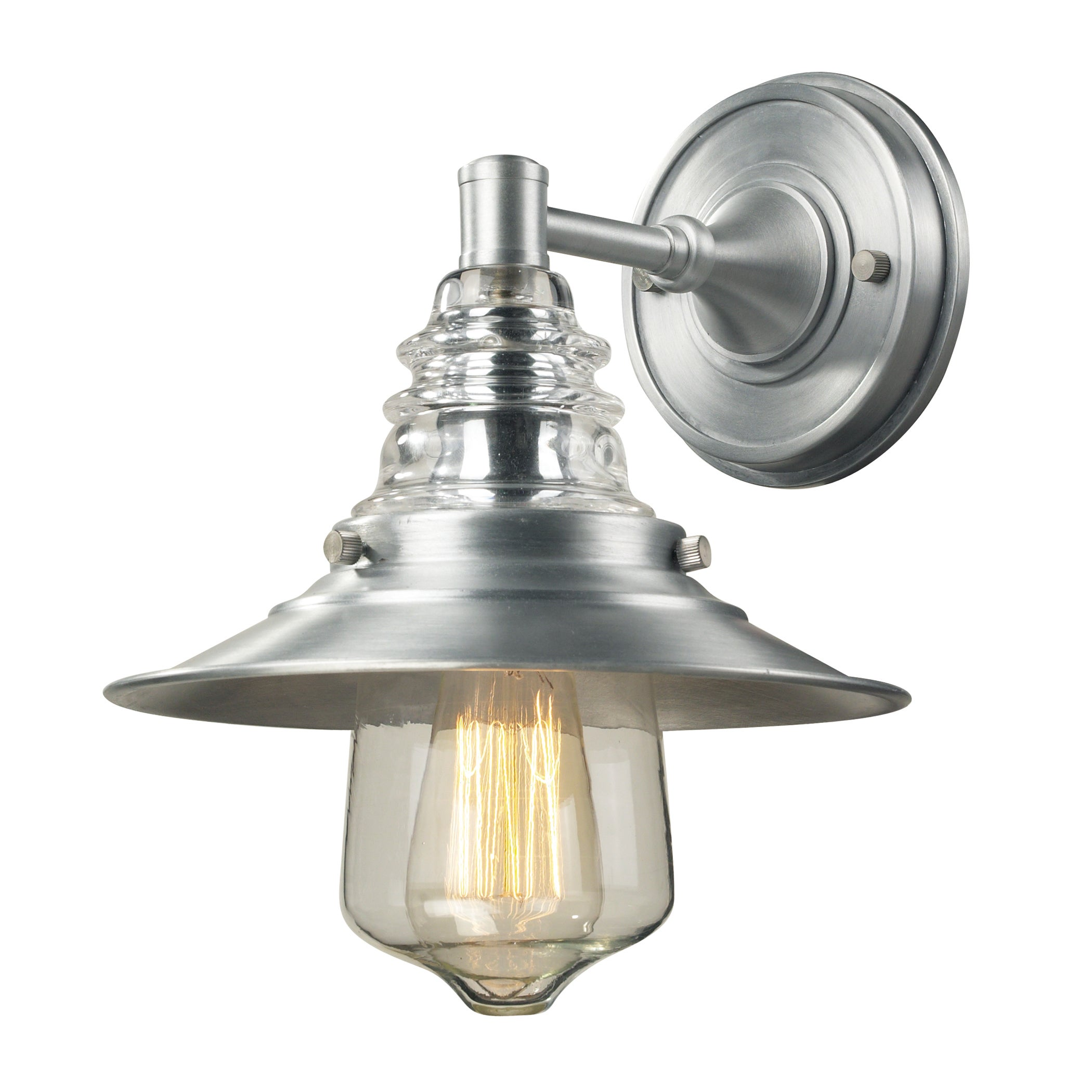Elk Lighting Insulator Glass Collection Brushed Aluminum ...