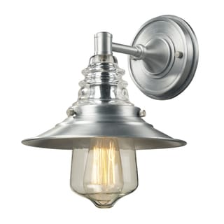 Insulator Glass Collection Brushed Aluminum 1-Light Outdoor Sconce