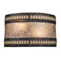 Tiffany-style Bronze Mica Filigree Collection 2-Light Sconce
