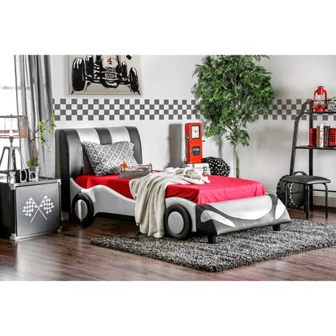 Furniture of America Toa Contemporary Silver Faux Leather Youth Bed