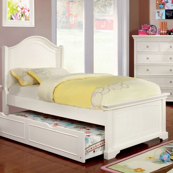 Furniture of America Vetz Transitional White Solid Wood Platform Bed