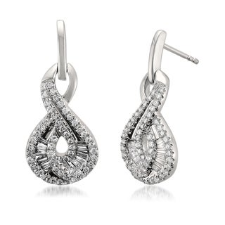 Montebello 14k White Gold 3/4ct TDW Baguette and Round-cut Diamond Stud Earrings (G-H, VS1-VS2)