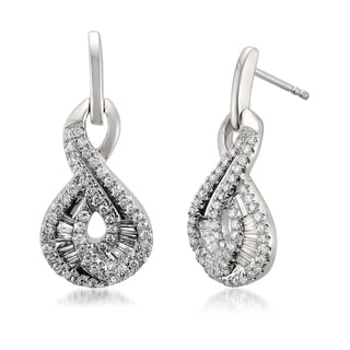 Montebello 14k White Gold 3/4ct TDW Baguette and Round-cut Diamond Stud Earrings