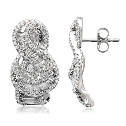 Montebello 14k White Gold 1 4/5ct TDW Baguette and Round-cut Diamond Stud Earrings (G-H, VS1-VS2)