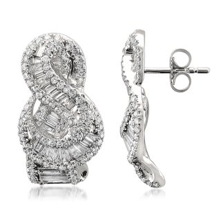 Montebello 14k White Gold 1 4/5ct TDW Baguette and Round-cut Diamond Stud Earrings (G-H, VS1-VS2)