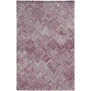 Pantone Universe Colorscape Hand-crafted Loop Pile Purple Faded Diamond Wool Area Rug (8' x 10')